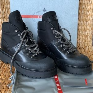 NIB Prada Black Leather Nylon Hiking Boots 39.5